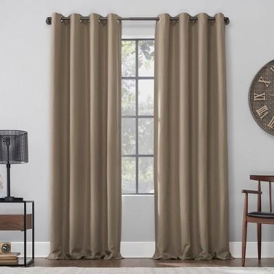 Linen Blend Blackout Grommet Top Curtain Panel - Archaeo