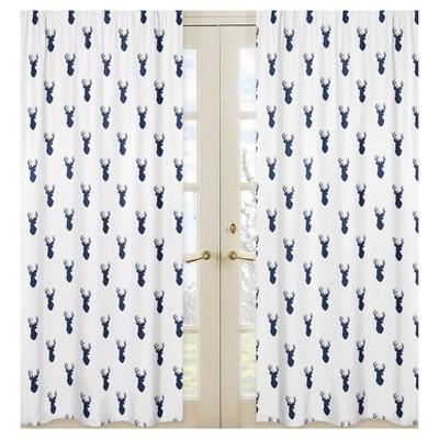 Sweet Jojo Designs Window Panels - Navy & White Stag - 2pk