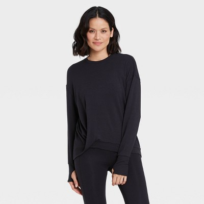 Women's Cozy Lightweight French Terry Twist-Front Crewneck Pullover - All in Motion™