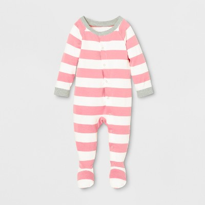 Baby Striped Footed Sleeper - Pink 3-6M