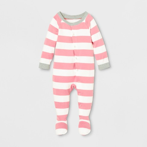 5f677f5cf Baby Striped Footed Sleeper - Pink   Target