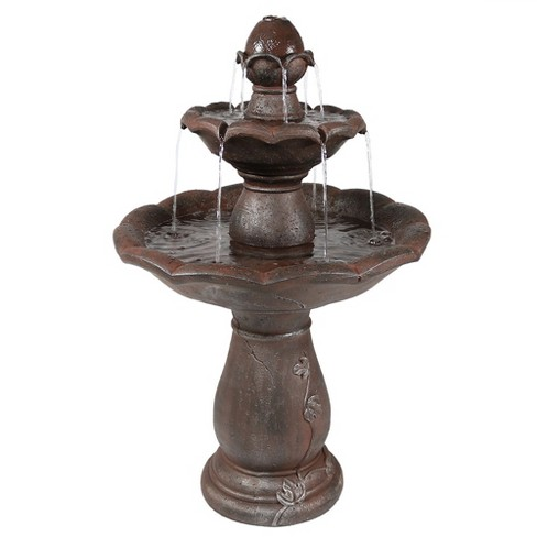 """32""""H Polyresin Flower Spout Top Two-Tier Outdoor Water Fountain - Sunnydaze Decor - image 1 of 4"""