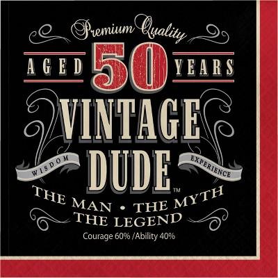 48ct Vintage Dude 50th Birthday Napkins Red