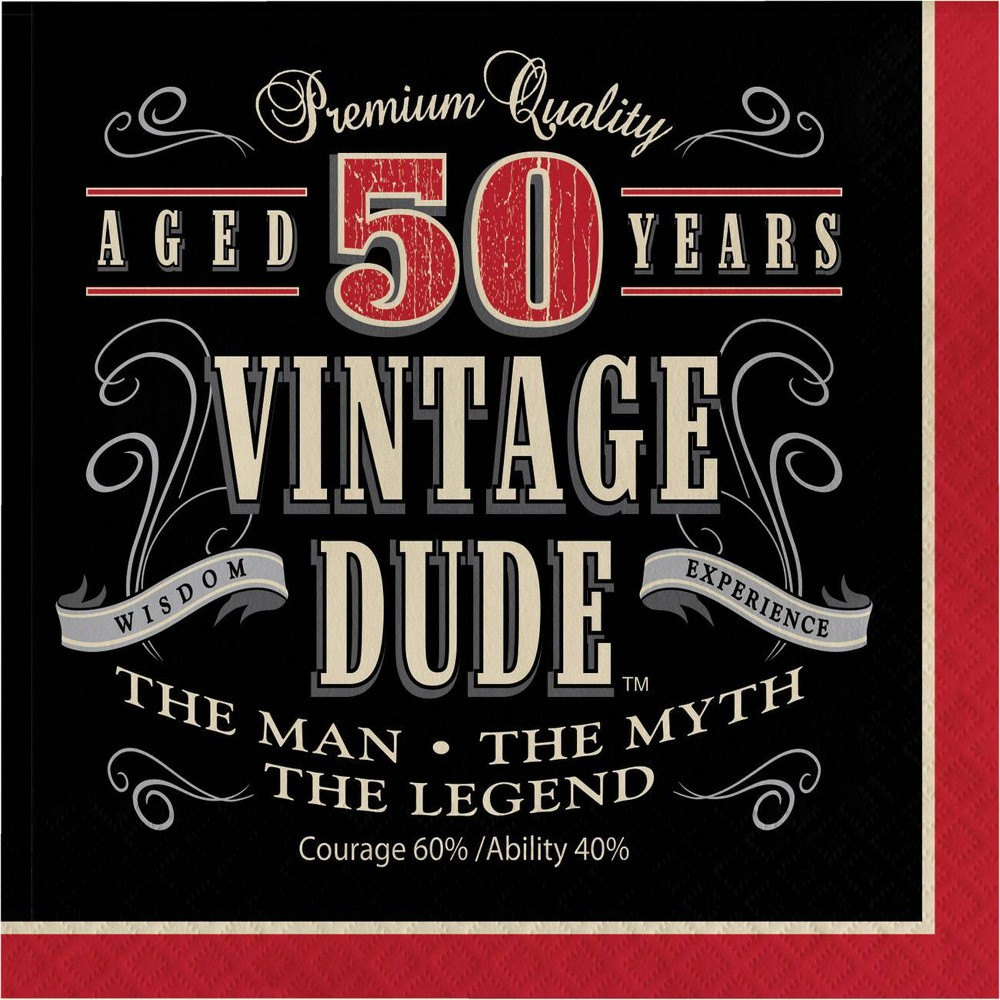 48ct Vintage Dude 50th Birthday Napkins Red