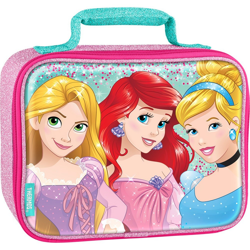 Thermos Disney Princess Soft Lunch Kit, Pink This soft lunch bag from Geniune Thermos Brand is a great choice for kids to take their lunch to school. Decorated with brightly colored and detailed graphics, this lunch bag features a comfortable, padded carrying handle and premium foam insulation to keep lunches cooler and fresher. Color: Pink. Pattern: Princess.