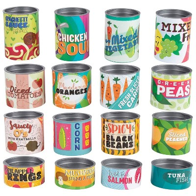 Juvale 16-Piece Grocery Store Kids Pretend Play Stackable Cardboard Cans Toy Foods