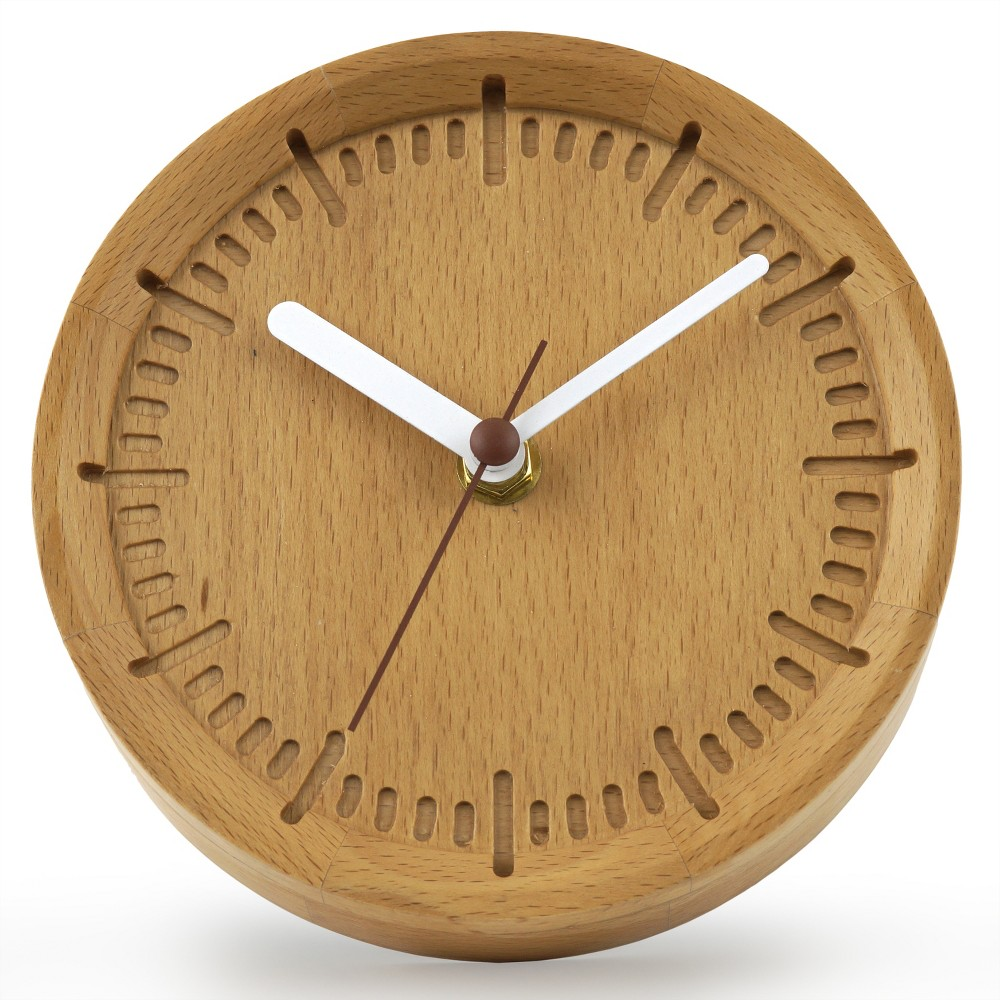 6 Solid Beech Wood Wall Clock Cream (Ivory) - Project 62