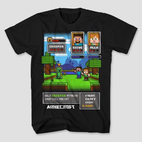 44296305 Boys' Minecraft Short Sleeve T-Shirt - Black : Target