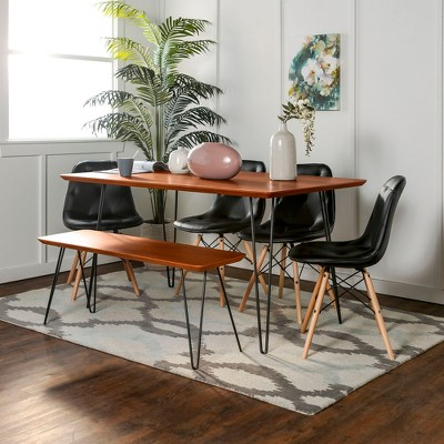 6pc Square Hairpin Dining Set With Eames Chairs Walnut/Black   Saracina Home