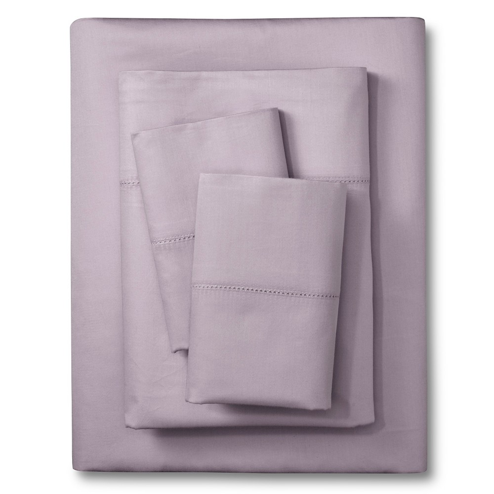 Image of California King 400 Thread Count Hemstitch Solid Sheet Set Lilac - Elite Home