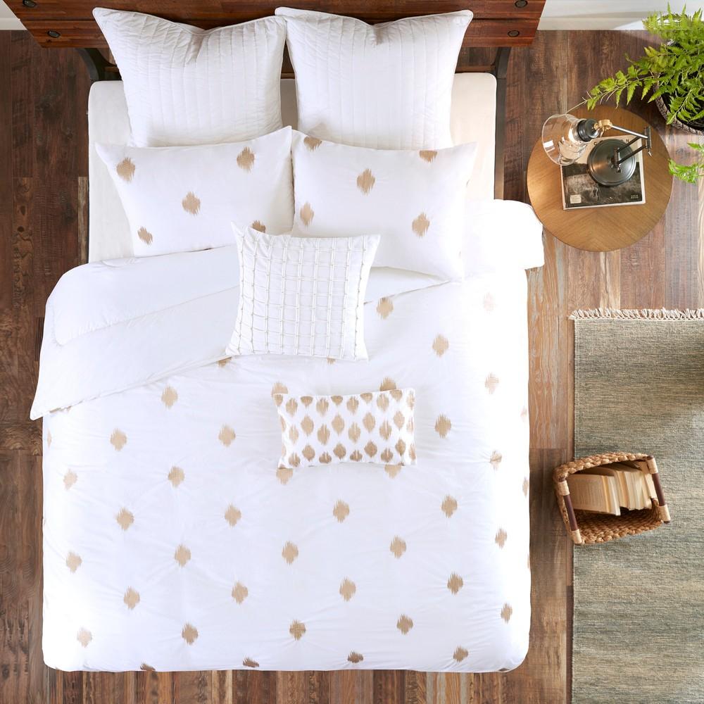 3pc Full Queen Stella Dot Cotton Comforter Mini Set Copper