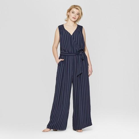 2a78c3028bd Women s Plus Size Striped Sleeveless V-Neck Woven Jumpsuit - Ava   Viv™ Navy