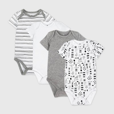 Honest Baby 4pk Pattern Play Organic Cotton Short Sleeve Bodysuit - Black/White 3-6M