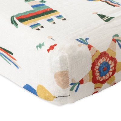 Red Rover Cotton Muslin Changing Pad Cover - Party Time