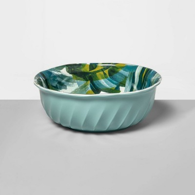 31oz Melamine Watercolor Leaves Dining Bowl Green - Opalhouse™