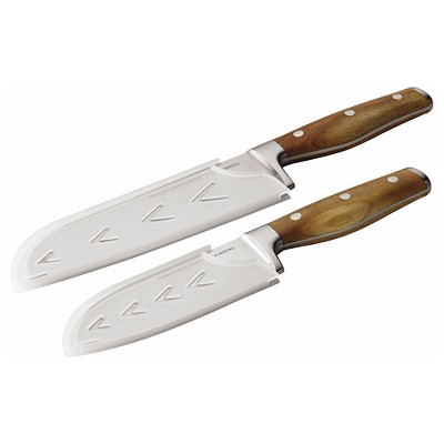 Rachael Ray 2 Piece Cutlery Japanese Stainless Steel Santoku Knife Set with Acacia Handles