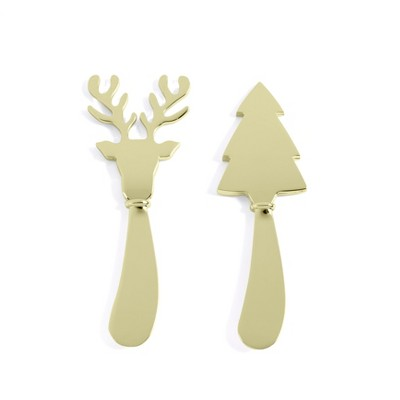 Set of Two Reindeer And Tree Butter Knives - Gold - Shiraleah