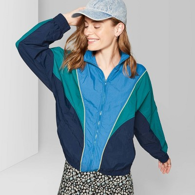 Women's Zip Up Colorblocked Windbreaker Jacket   Wild Fable Navy by Up Colorblocked Windbreaker Jacket