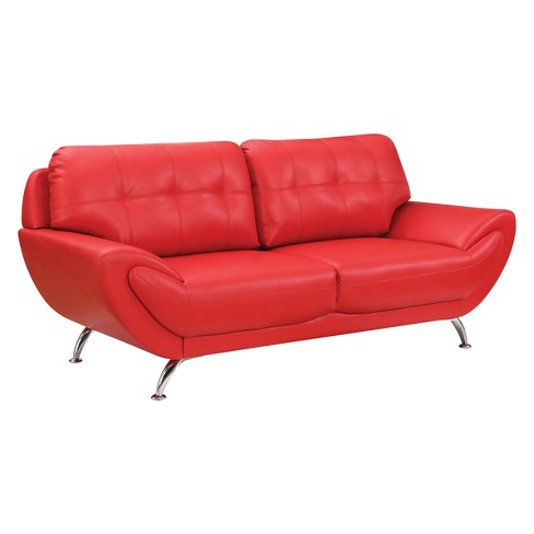 Iohomes Dechant Contemporary Tufted Leatherette Sofa Red - HOMES: Inside +  Out