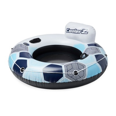 """Bestway CoolerZ Rapid Rider 53"""" Inflatable Blow Up Pool River Tube Lake Lounger Float with 2 Cup Holders, Handles, Backrest and Mesh Bottom, Blue"""