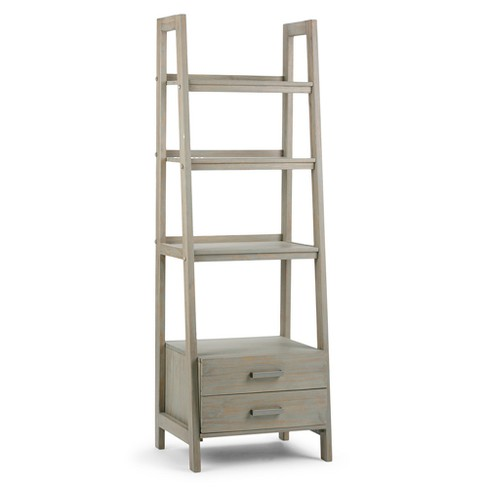 "72"" Sawhorse 4 Shelf Ladder Shelf with Storage - Distressed Grey - image 1 of 9"