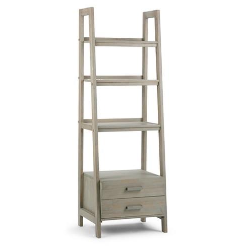 Hawkins Solid Wood Ladder Shelf With Storage Distressed Gray Wyndenhall
