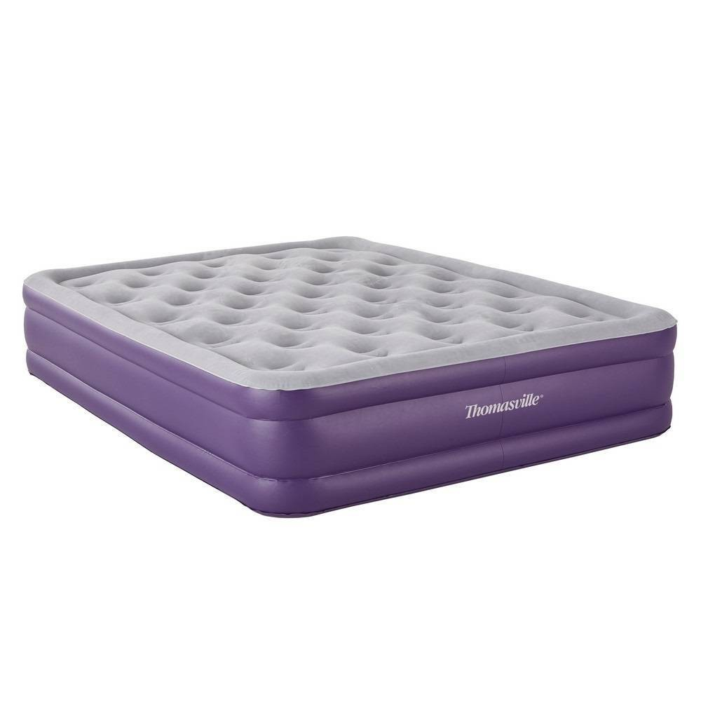 "Image of ""Thomasville Sensation 15"""" Double Air Mattress with Built in Pump - Purple"""