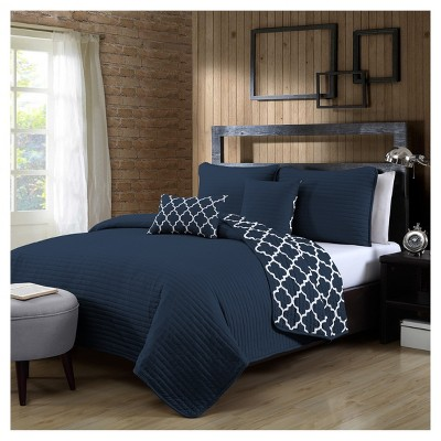 Navy Griffin Quilt Set (King)5pc