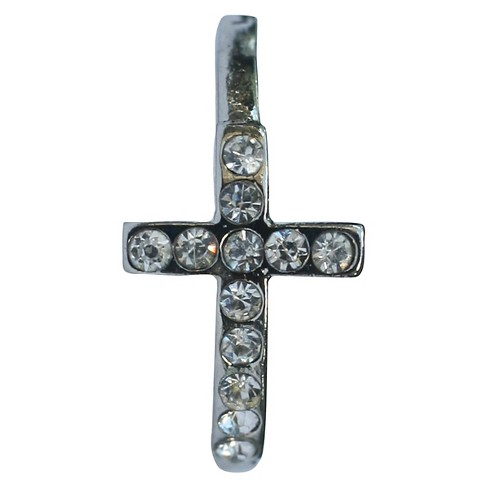 Zirconite Knuckle Sideway Cross Ring with Crystal Accents - Silver - image 1 of 1