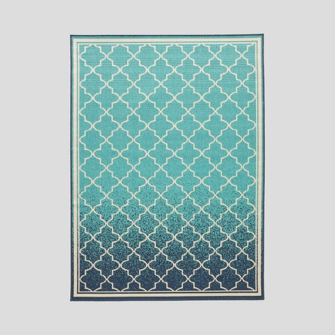 Laguna Ombre Outdoor Rug Blue/Ivory - Christopher Knight Home - image 1 of 5