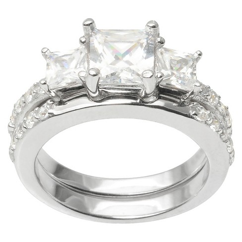 2 1/5 CT. T.W. Princess Cut CZ Basket Set Elegant Ring in Sterling Silver - Silver - image 1 of 2