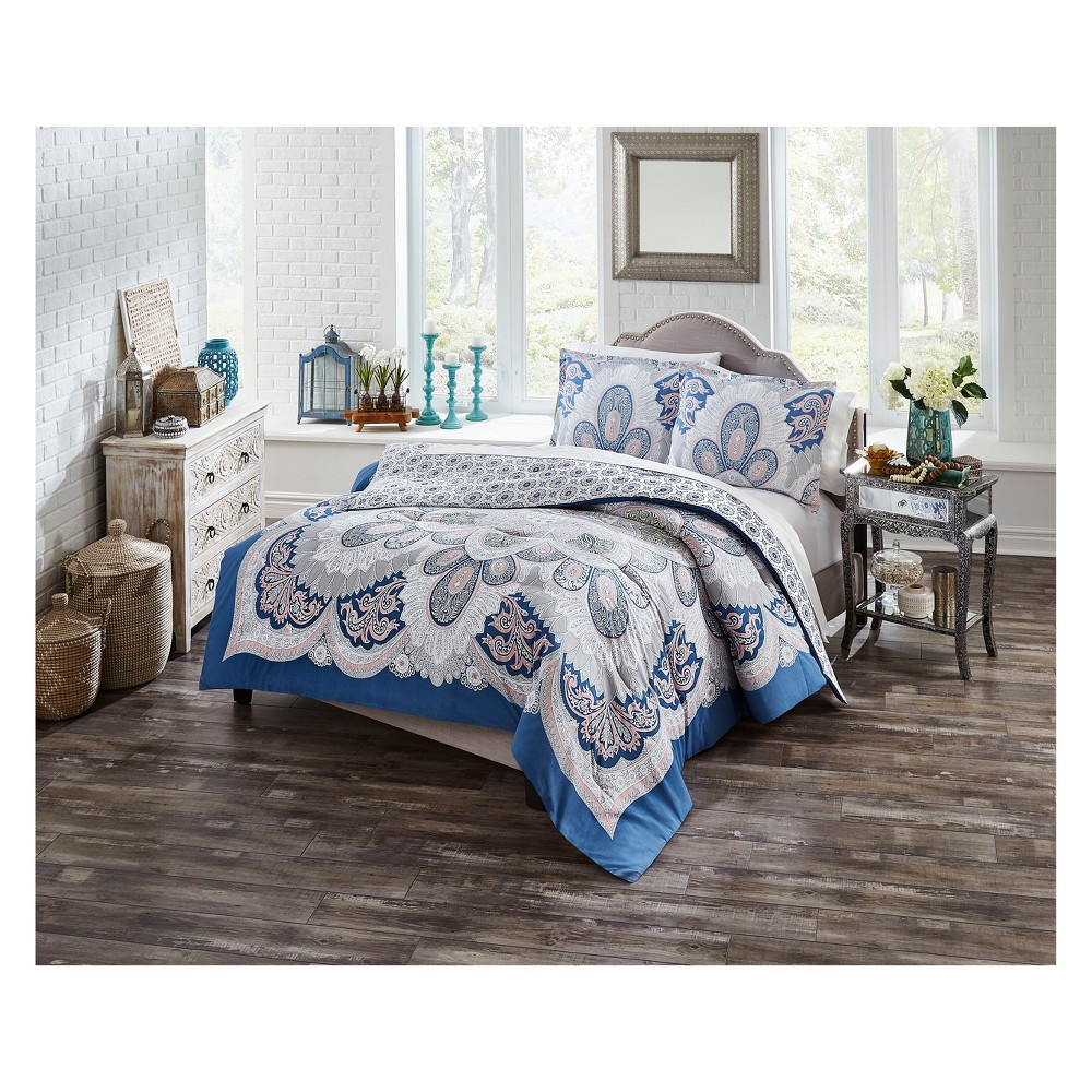 Image of Blue Serene Reversible Comforter Set (Full/Queen) 3pc - Boho Boutique