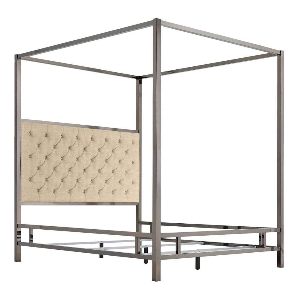 Queen Manhattan Black Nickel Canopy Bed with Diamond Tufted Headboard Oatmeal Brown - Inspire Q