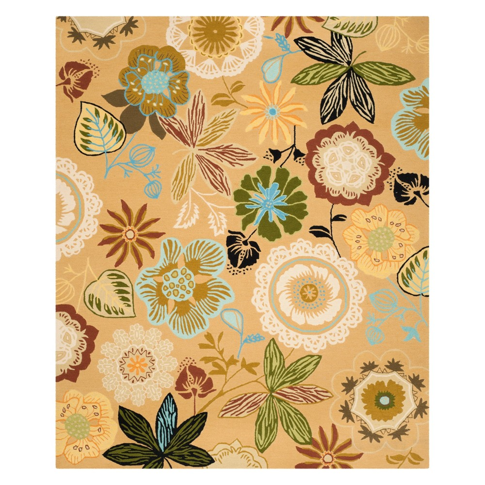 8'X10' Floral Area Rug Taupe - Safavieh, Brown/Multi-Colored