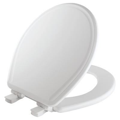 Round Molded Wood Toilet Seat with Easy Clean & Change Hinge White - Mayfair