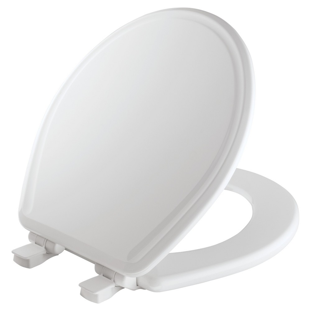 Image of Round Molded Wood Toilet Seat with Easy Clean & Change Hinge White - Mayfair