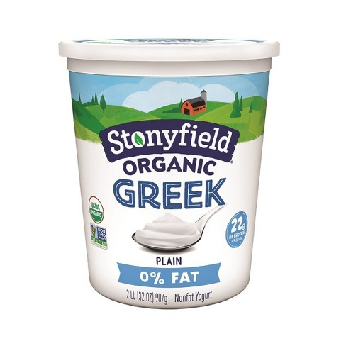 Stonyfield Organic Fat Free Plain Greek Yogurt - 32oz - image 1 of 4