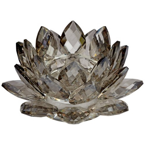 "Dahlia Studios Gray Glass 9 1/4"" Wide Crystal Lotus Candle Holder - image 1 of 4"