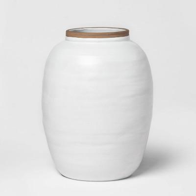"""13.2"""" x 10.5"""" Reactive Glaze Ceramic Ginger Jar Vase White - Threshold™"""