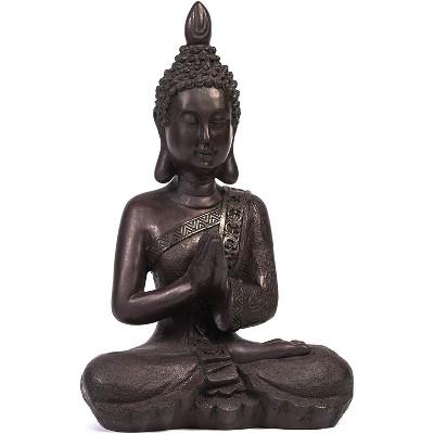 "13"" Buddha Statue Sitting Meditating Figurine for Indoor Outdoor Home Garden Decor Gift, Dark Stone"