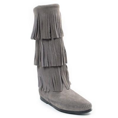 Minnetonka Women's Suede 3 Layer Fringe Boot