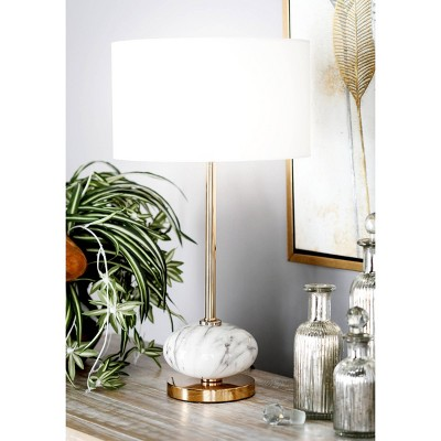 Modern Ceramic and Iron Table Lamp Gold/White - Olivia & May