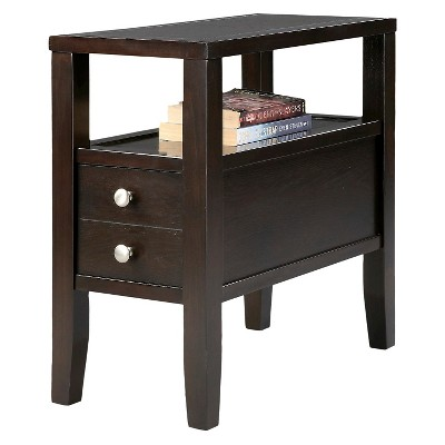 Side Table Traditional 2-Drawers Brown - Ore International