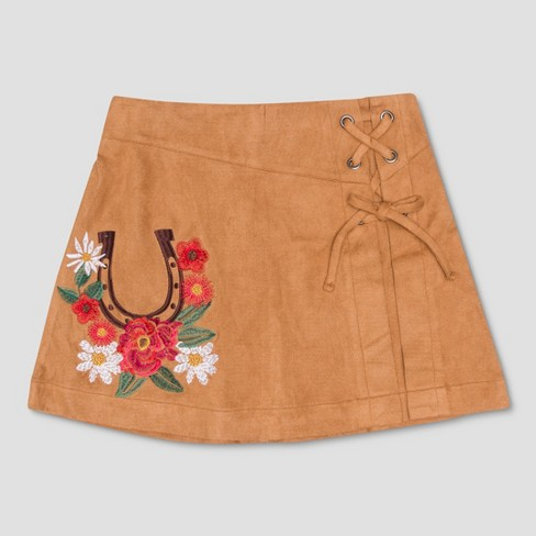 Girls' Spirit Riding Free Horseshoe Floral Faux Suede Skirt - Tan Brown - image 1 of 2