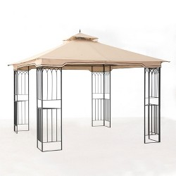 Sunjoy 10 x 10 Foot Pop Up Backyard Outdoor Fence AIM Shade Gazebo Canopy, Beige