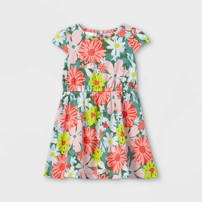 Toddler Girls' Floral Short Sleeve Dress - Just One You® made by carter's Green/Pink
