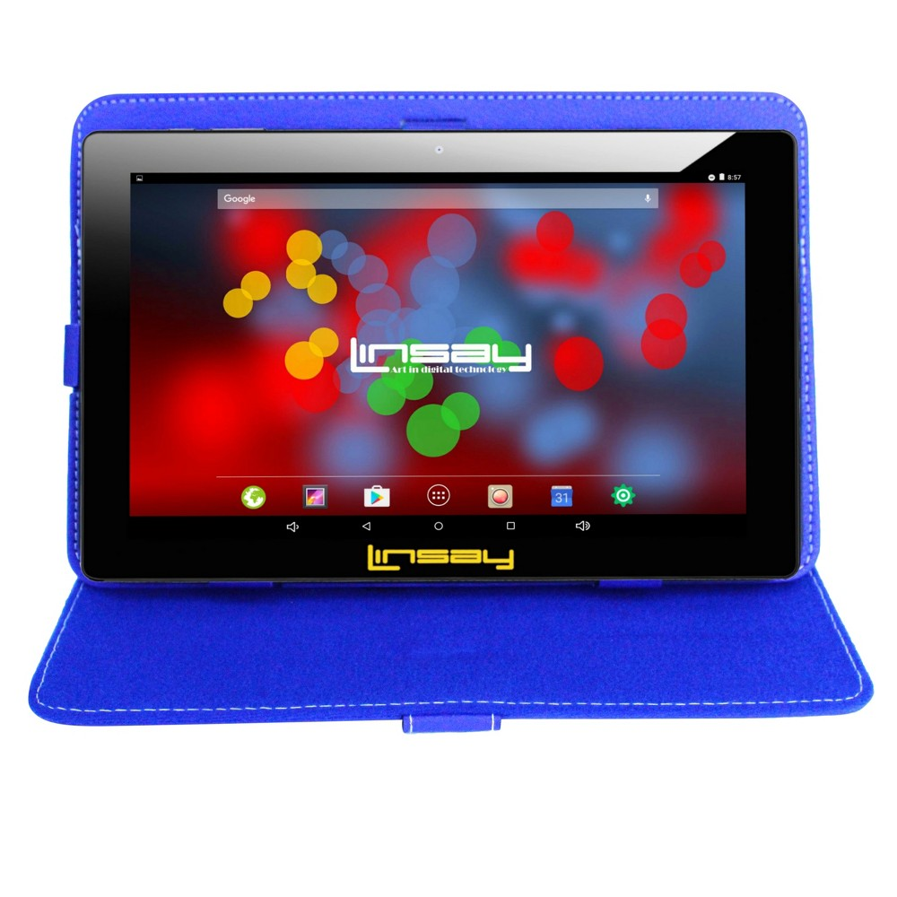 "Linsay 10.1"" Quad Core 1280x800 IPS Screen Tablet 16GB with Style Case - Blue, Black"