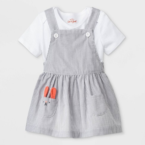 03bb8b5d520a Baby Girls  Short Sleeve Lap Shoulder Bodysuit and Patch Pocket Skirtall -  Cat   Jack™ Gray
