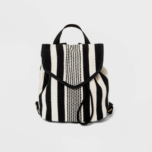 Striped Pointed Flap Backpack - Universal Thread™ Black/White - image 1 of 4
