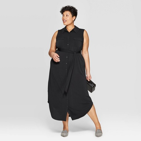 Women's Plus Size Knit Midi Shirtdress - Ava & Viv™ - image 1 of 3